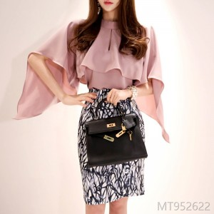 2008 Autumn Dress New Korean Style Shawl Top, Body-Fitting Printed Hip Skirt Dress Suit