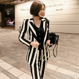 2008 New Korean Women's Wear Temperament Stripe Double-row Button Suit Jacket Slimming Long Professional Suit