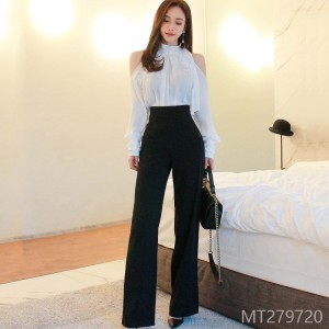 2008 Autumn Dress New Korean Edition Temperament Leakage Shoulder Lace Lace Fashion High-waist and Broad-legged Pants Suit