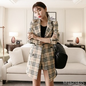 2008 autumn dress new Korean style double-breasted body-building suit jacket fashionable checked shorts suit