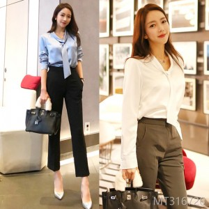 Fall 2008 New Korean Style Fashion Tie Shirt Blouse, Professional Trousers Suit