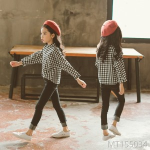 Autumn 2018 Girls Suit Chequered Long Sleeve Shirt with Jeans Suit