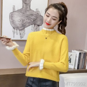 2008 Autumn and Winter Female Fresh and Thicker Heating Sleeve Half-high Collar Loose Long Sleeve Bottom Shirt