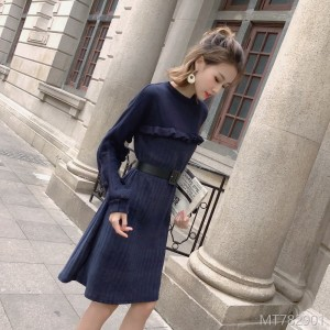 2018 Wool Dress Female Mid-long Fake Two Received Wool Dresses