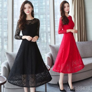 2008 Lace Dresses Female Autumn Dresses Knee-length Slimming Dresses with Large Size Black and Red Dresses