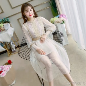 2018 new super fairy thin Chiffon yarn skirt Lantern Sleeve fluffy skirt