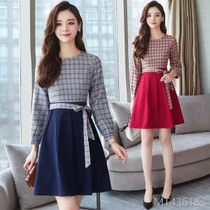 2018 new style of temperament a-word stitching waist slim spring and autumn bottom skirt