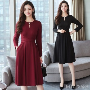 2008 New OL Women's Dress Korean Edition Slim Long Sleeve Bottom Skirt Name Yuanyuan Temperament Long Skirt