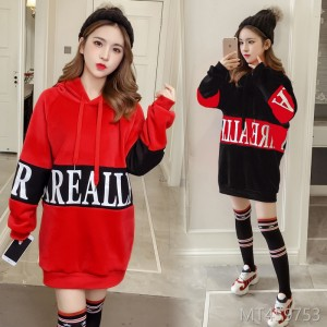 2018 New Long Sleeve Chao Lianhua Headgear Korean Version Loose and Fleece Red Medium and Long Style