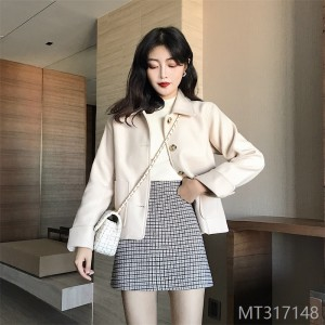 Double-faced Fabric Overcoat, Autumn and Winter Clothes, Short Wool Coat and Skirt, 2019