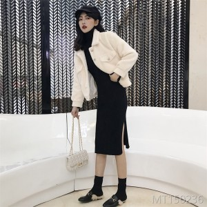 Mink-like short jacket + dress suit in 2019