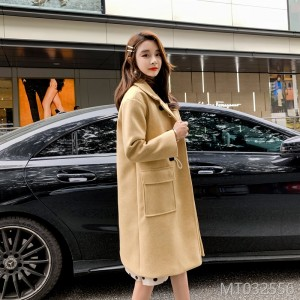 2019 Korean version of women's wear with cotton jacket, thick horn button, medium and long wool in pure color
