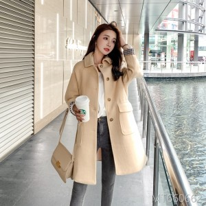 Fall and Winter 2019 New Small Fresh Cuff Curled Large Pocket Wool Jacket