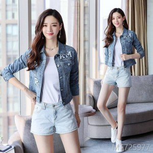 Spring and Autumn Embroidered Jeans Jacket, Jeans Jacket, Short Jacket