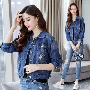 2019bf jeans Korean version of long sleeve women's short style