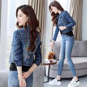 2019 Cowboy Jacket Female Short-style Korean Version Baitao Spring and Autumn Festival