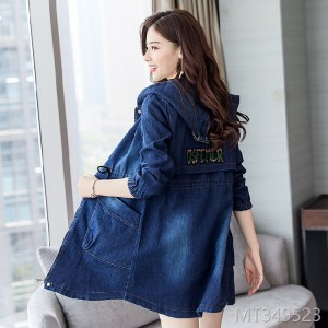 Spring and Autumn New Style Bottom-tied Hat Printed Long Jeans Coat