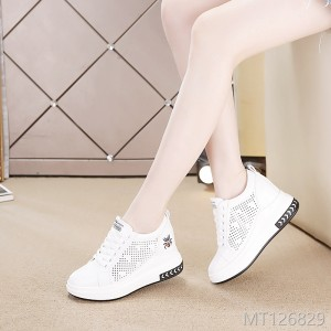 Autumn 2018 New Thick Bottom Inside High and Low Uppers Women's Leisure White Shoes