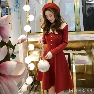 2009 Doll Neck Knitted Dress Female Autumn and Winter