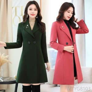Long sleeves of long woolen jacket with solid color personality in 2019