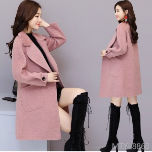 Elegant and Fashionable Korean Long Slim Trendy Wool Jacket in 2019