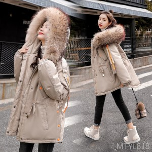 Winter 2019 New Cotton Clothes with Loose Fur Neck Pocket Zipper Long Sleeves