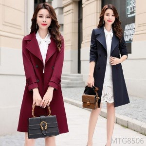 Pure-colour polyester wool jacket with double-breasted square collar in spring of 2019