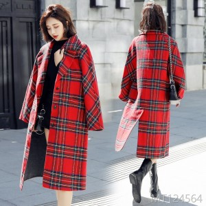 Plaid South Korean medium and long knee wool jacket, 2019