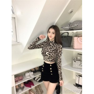 2019 Careful Machine Bottom Shirt Leakage Belly Navel Baitao Leopard-print Top Woman