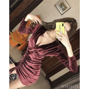 2009 Night Club V-collar, hip fold, rope-pulling irregular velvet long-sleeved slim dress