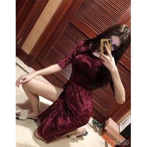 2019 Anchor Velvet Open Cross Sleeve Dresses