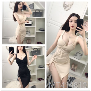 2009 Sexy Suspender V-neck Slanting Band Receiving Slim Buttock Irregular Dress