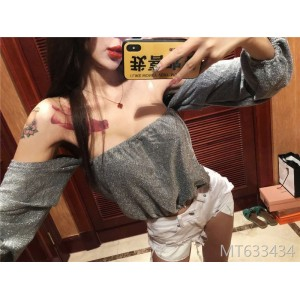 2009 Sexy Word Collar Shoulder Long Sleeve Short Style Baituan Top