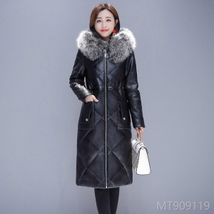 Fall and Winter 2019 New Large-Size Leather Clothes in Long-style Self-cultivation