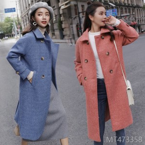 New Mid-long Haze Blue Fabric Coat for Autumn and Winter in 2019