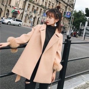 2009 sleeve wool suit tie waist wool jacket woman