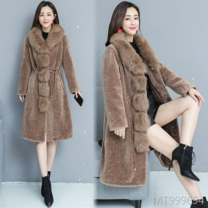 New Winter 2009 Mid-long Fox Fur-collar Sheep Plush Coat