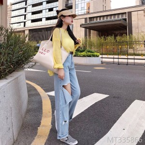 2019 new wide-legged jeans with loose waist side holes