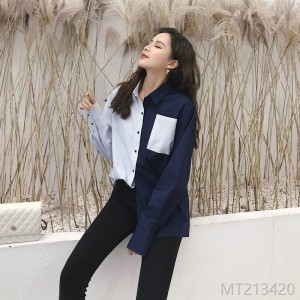 Long-sleeved loose shirt with spliced stripes in spring and Korean Edition of color-impact Embroidery Shirt in 2019
