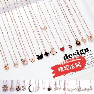 Korean Version 2019 Short Long Clavicle Chain with 18K Rose Gold
