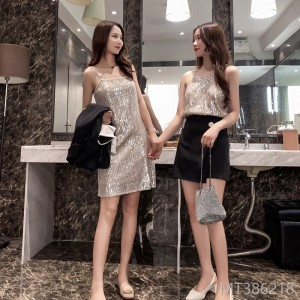 2019 BLING sequins sling + dress two sets