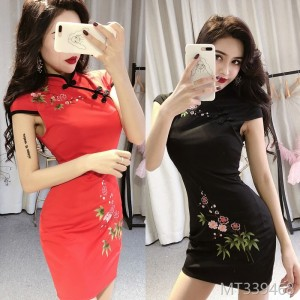 2009 Night Club Retro Plum Blossom Embroidery Daily Modified Cheongsam Dresses