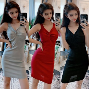 2009 New Sexy Night Club Slimming Low-Brooch Knitted Button Suspender Dress