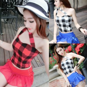 2009 Sexy Chequered Two-piece Single Shoulder Neckwear + Fashion Sexy Shorts Suit
