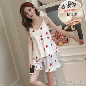 Pure cotton pajamas women summer thin sweet cute suspender shorts suit