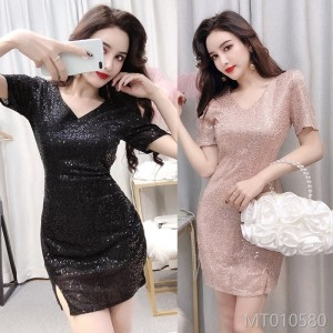 2009 Fashionable Temperament V-collar Short Sleeve Sequins Slim Open Crouch Dress
