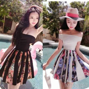 2009 Fashion Retro Sexy Open-backed Flower Printed Chest Dress