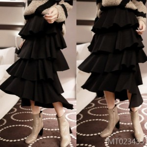 2009 Korean version of the new fashionable pure-color cake skirt leisure dress