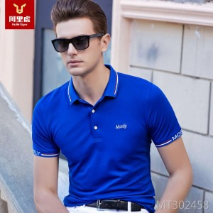 Summer 2019 Brand Men's T-shirt Men's Light Business Lapel polo