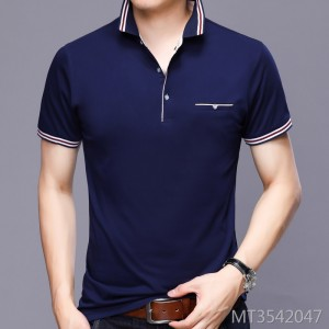 New Men's Light Business Short Sleeve Polo Stripe T-shirt for Summer 2019